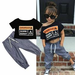 NEW Summer Toddler Baby Girl Boat Neck Crop Top T-shirt +Leg