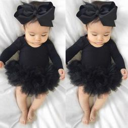 Newborn Baby Girl Long Sleeve Tulle Tutu Romper Jumpsuit Kid