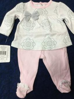 Newborn baby girl  2 pc Sterling Baby footed pant, top pink,