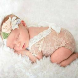 Newborn Baby Girl Bodysuit Lace Floral Romper Outfit Photo P