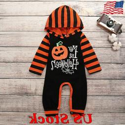 Newborn Baby Girl Boy Bodysuit Halloween Clothes Outfit Stri