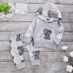 Newborn Baby Girl Boy Cute Cartoon Elephant Hooded Tops Pant