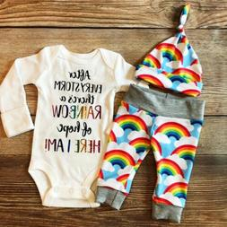 newborn baby girl boy rainbow romper tops