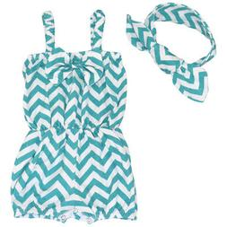 Newborn Baby Girl Clothes Chevron Jumpsuit Romper Bodysuit +