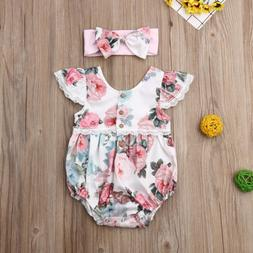 Pudcoco Newborn Baby Girl Clothes Flower Print Fly Sleeve La