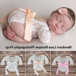 Newborn Baby Girl Clothes Lace Floral Romper Backless Bodysu