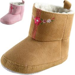 Luvable Friends Newborn Baby Girl Embroidered Suede Boots