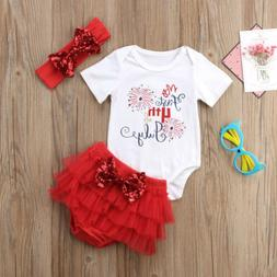 Newborn Baby Girl Fourth of July Romper+Tutu Skirt Tulle Out