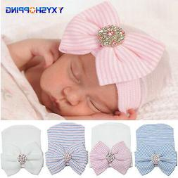 Newborn Baby Girl Infant Stripe Bowknot Outdoor Casual Beani