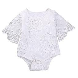 Emmababy Newborn Baby Girl Lace Floral Romper Jumpsuit Bodys