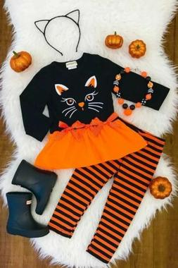 Newborn Baby Girl Pumpkin Dress Tops+ Pants Halloween Cospla