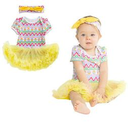 Newborn Baby Girl Romper Tutu Dress Bodysuit Headband Outfit