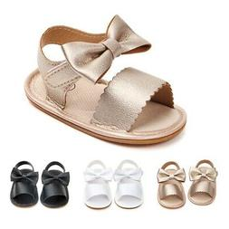 Summer Newborn Baby Girl Sandals PU Soft Shoes With Bow-knot
