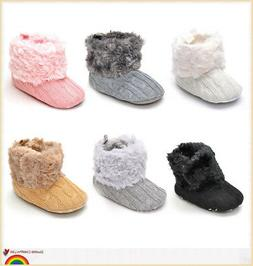 Newborn Baby Girl Toddler Fur Boots Soft Sole Crib Shoes Boo