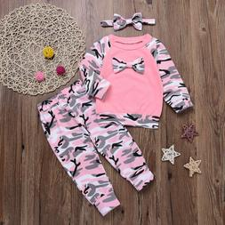 Newborn Baby Girl Tracksuit Camo Bow Top+Long Pants+Headband