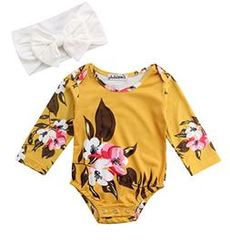 Emmababy Newborn Baby Girls Big Flowers Print Romper with He