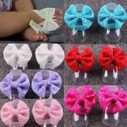 Newborn Baby Girls Kids Foot Flower Elastic Barefoot Anklet