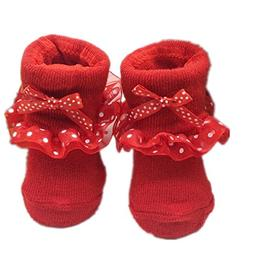 Voberry Newborn Baby Girls Lace Bowknots Casual Socks Ballet