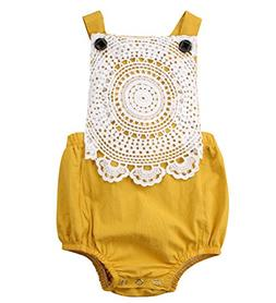 Emmababy Newborn Baby Girls Lace Flower Backless Romper Body