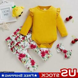 Newborn Baby Girls Long Sleeve Romper Top+Pants+Headband 3PC