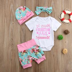 Newborn Baby Girls Mother's Day Soft Romper Tops Pants Headb