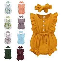 Newborn Baby Girls Ruffle Romper Bodysuit Jumpsuit Headband