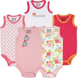 Luvable Friends Newborn Baby Girls' Sleeveless Bodysuits 5-P