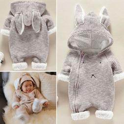Newborn Baby Infant Kid Boy Girl Romper Hooded Jumpsuit Body