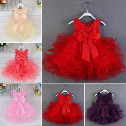 Newborn Flower Pageant Princess Dress Baby Girl Wedding Part