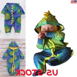 Newborn Infant Baby Boy Girl 3D Dinosaur Hoodie Romper Jumps