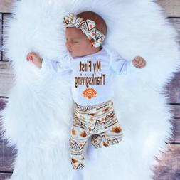Newborn Infant Baby Boy Girl T-shirt Tops+Pants+Hat Outfit C