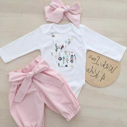 US Newborn Kid Baby Girl Infant Bunny 3pcs Clothes Romper To