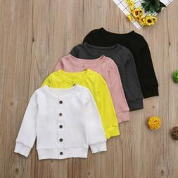 Newborn Infant Baby Girl Boy Clothes Front Open Knit Sweater