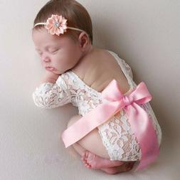 Newborn Infant Baby Girl Boy Photography Props Lace Bow Romp