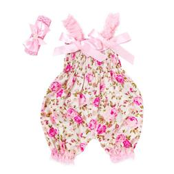 Newborn Infant Baby Girl Floral Romper Bodysuit Jumpsuit Hea