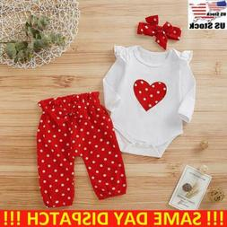 Newborn Infant Baby Girl Romper Jumpsuit Tops Pants Headband