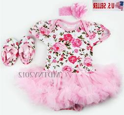 3PCS Newborn Baby Girl Outfits Clothes Romper tutu Dress Jum