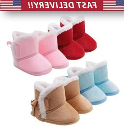 Newborn Infant Baby Girl Soft Fur With Bow Boots - shoes war