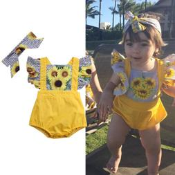 Newborn Infant Baby Girl Sunflower Bodysuit Romper Headband