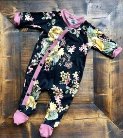 Newborn Infant Baby Girls Autumn Clothes Floral Romper Bodys