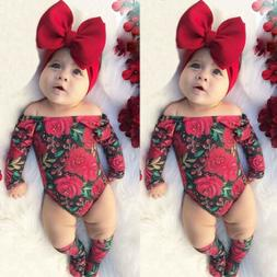 Newborn Infant Kids Baby Girl Bodysuit Romper Jumpsuit Outfi
