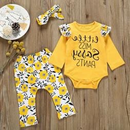 Newborn Infant Kids Baby Girl Sassy Tops T-Shirt Long Pants