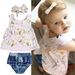 Newborn Infant Toddler Baby Girl Crop Top+Shorts Short Pants