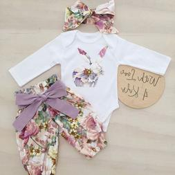 US Newborn Kid Baby Girl Easter Bunny 3pcs Clothes Romper To