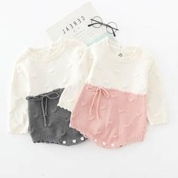 Newborn Kid Clothes Baby Girl Patchwork Bow Princess Knit Ro