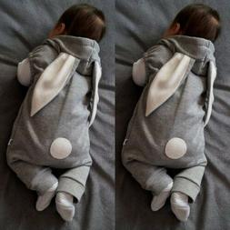 Newborn Kids Baby Boy Girl Rabbit Romper Hooded Jumpsuit Bod
