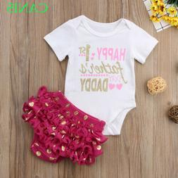Newborn Kids Baby Girl Fathers Day Clothes Outfits T-shirt T