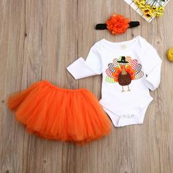 Newborn Kids Baby Girl Long Sleeve Romper+Tutu Skirts Dress