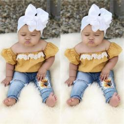 newborn toddler baby girl off shoulder tops