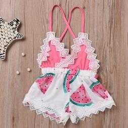 Newborn Toddler Baby Girl Romper Lace Jumpsuit Outfit Waterm